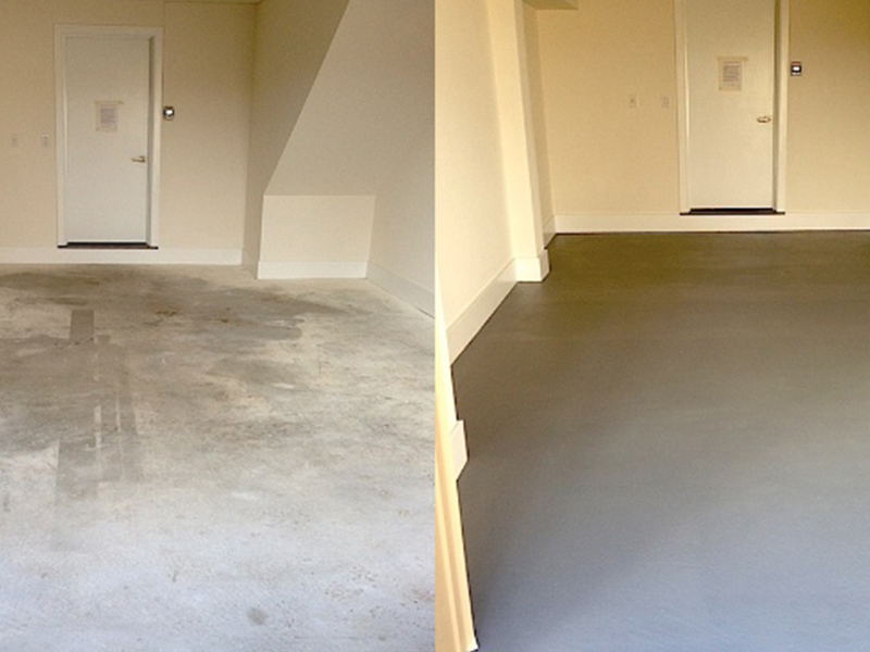 Grey Epoxy Green Floor Before and After